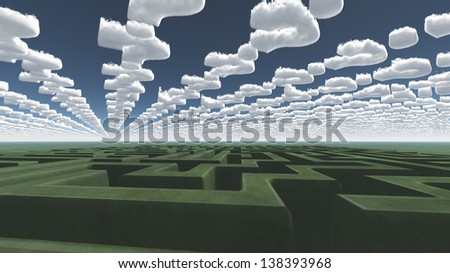 Green maze under question mark clouds - stock photo
