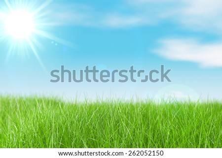 Green meadow, blue sky and sun - stock photo
