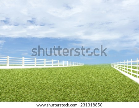 Green meadow blue sky with white fence.