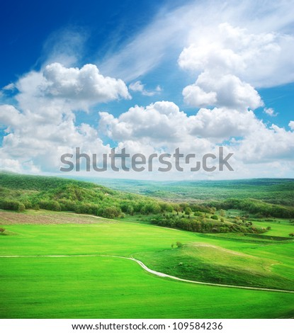 Green meadow in mountain. Nature design.
