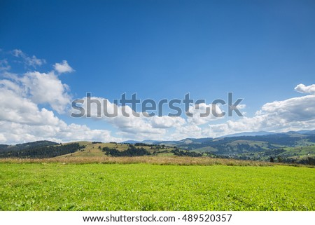 Green meadow, mountain and blue sky with clouds