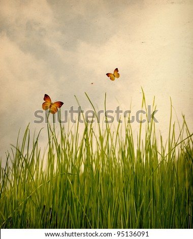 Green meadow under blue sky with clouds with butterfly,vintage background - stock photo
