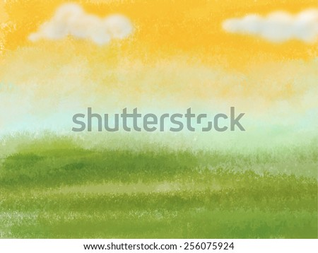 Green meadow with yellow sky and clouds. Digital background raster illustration.  - stock photo