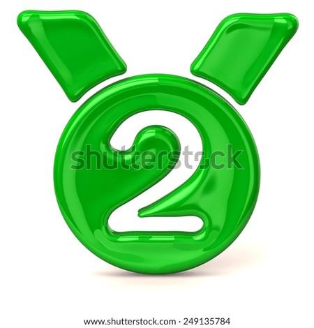 Green medal icon - stock photo