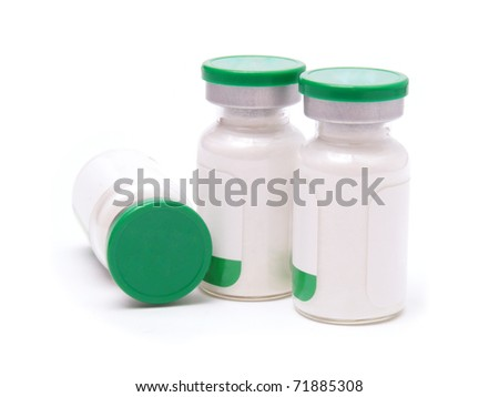 Green medical preparation isolated on white - stock photo