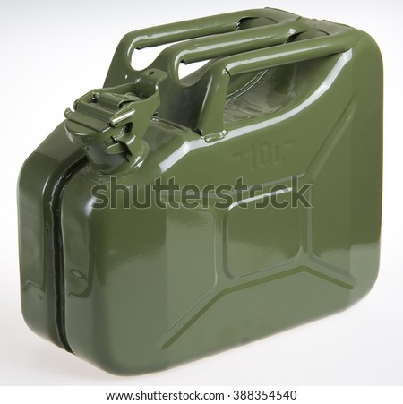 Green metal gasoline canister on white background - stock photo
