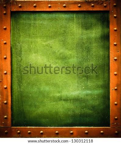 Green metal template - stock photo