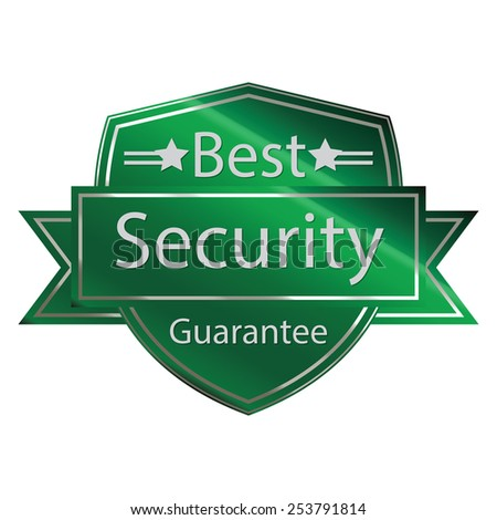 green metallic best security guarantee shield with ribbon sticker, banner, sign, icon, label isolated on white