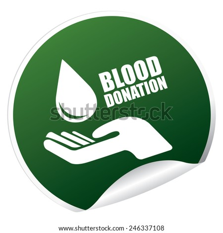 Green Metallic Blood Donation Sticker, Icon or Label Isolated on White Background  - stock photo