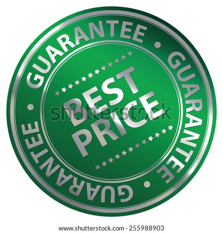 Green Metallic Circle Best Price Guarantee Icon, Label, Banner, Tag or Sticker Isolated on White Background