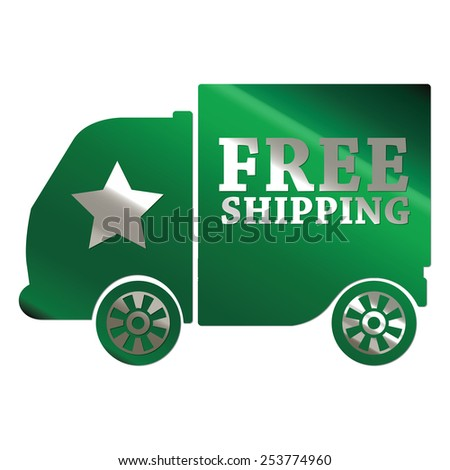 green metallic free shipping sticker, sign, badge, icon, label isolated on white - stock photo