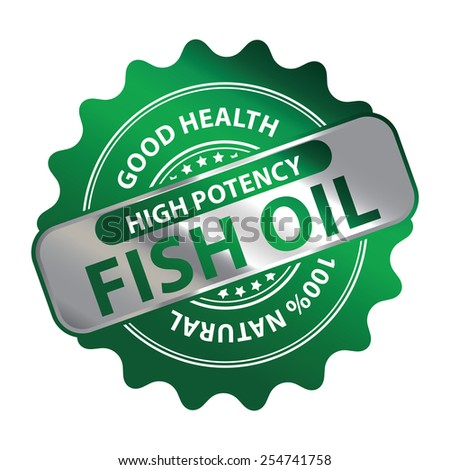 Green Metallic High Potency Fish Oil Good Health 100% Natural Icon, Label, Badge or Sticker Isolated on White Background  - stock photo