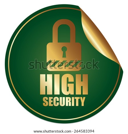 Green Metallic High Security Sticker, Icon or Label Isolated on White Background  - stock photo