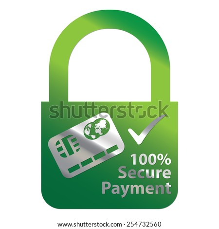Green Metallic Key Lock Shape 100% Secure Payment Icon, Label, Sign or Sticker Isolated on White Background  - stock photo