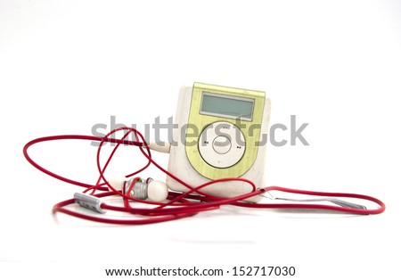 Green Metallic MP3 player isolated over white - stock photo