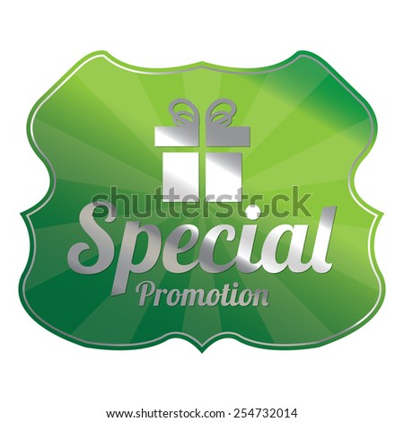 Green Metallic Special Promotion Badge, Icon, Label, Sign or Sticker Isolated on White Background  - stock photo