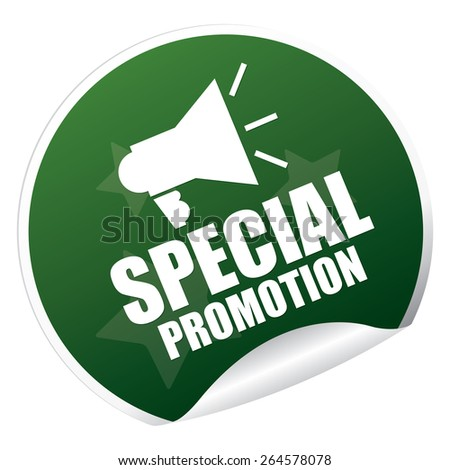 Green Metallic Special Promotion Sticker, Icon or Label Isolated on White Background  - stock photo