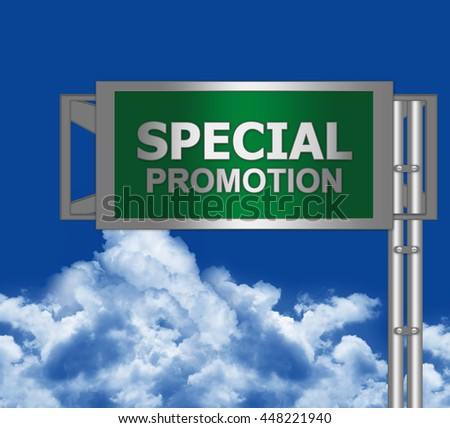 Green Metallic Special Promotion Street Sign in Blue Sky Background