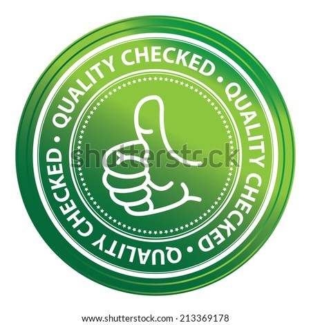 Green Metallic Style Quality Control Icon, Badge, Label or Sticker Isolated on White Background  - stock photo