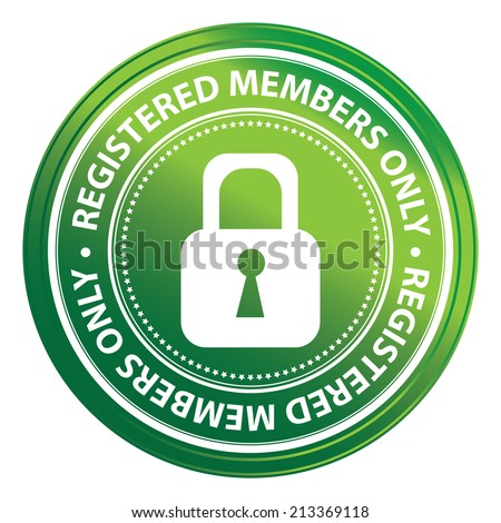 Green Metallic Style Registered Members Only Icon, Badge, Label or Sticker for Business or Security Concept Isolated on White Background  - stock photo