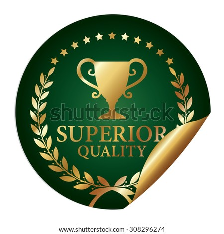 Green Metallic Superior Quality Infographics Peeling Sticker, Icon, Badge, Sign or Label Isolated on White Background  - stock photo