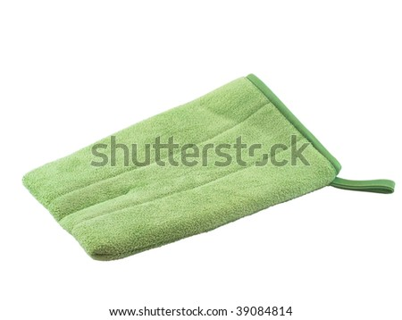 Green microfiber bath mitten isolated on white