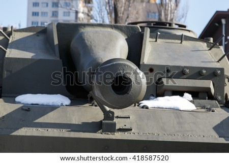 Green military armored tank. - stock photo