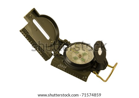 Green Military compass isolated on white background