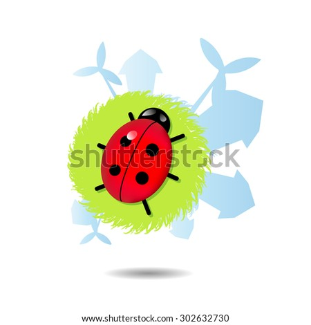 green mini planet with ladybug and house silhouette - stock photo