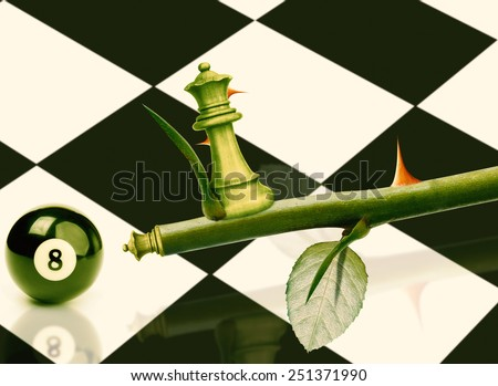 Green Minister Chess on rose stem, Power and Challenge concept. - stock photo