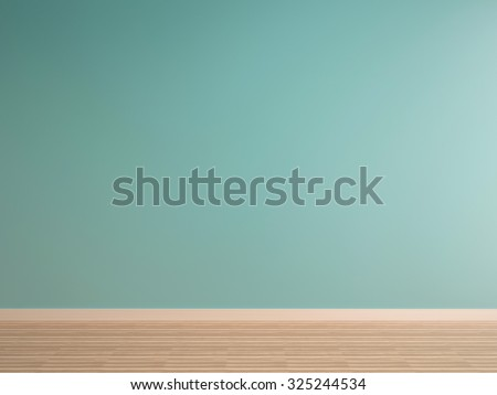 green mint wall on wood floor interior-rendering - stock photo