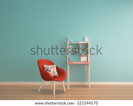 green mint wall on wood floor with working table & red armchair-interior - stock photo