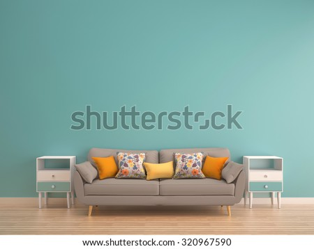 green mint wall with sofa & sideboard on wood floor-interior - stock photo