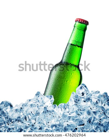 Green misted over bottle of beer on ice isolated on white background