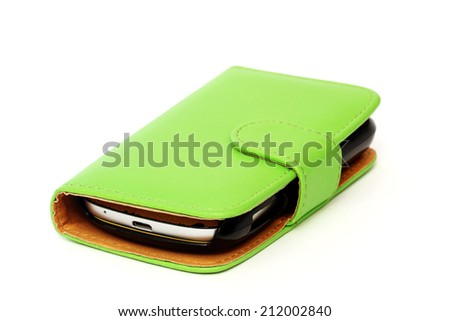 Green mobile cover isolated over white background - stock photo