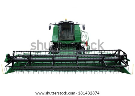 Green modern combine isolated on a white background - stock photo