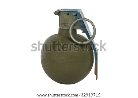 green modern hand grenade isolated on white background