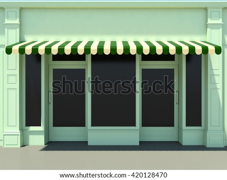 Green modern shopfront in the sun - 3d render classic store front with green awnings - stock photo