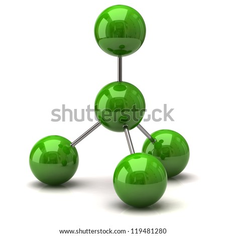 Green molecule icon - stock photo