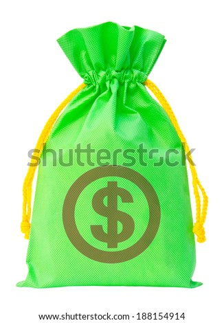 Green money bag with US dollar sign against white background, clipping path