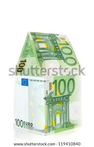 green money house from European banknotes - stock photo