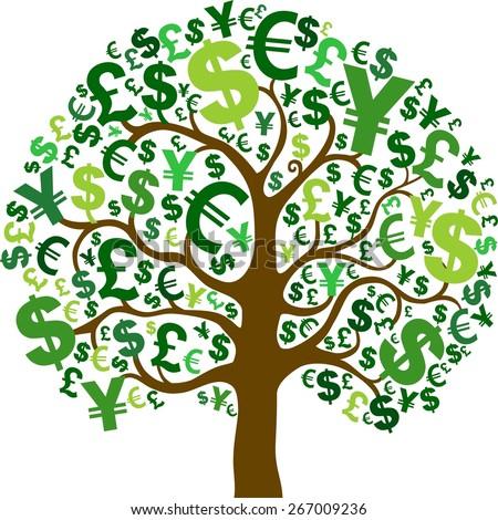green money tree isolated on white stock illustration 267009236 rh shutterstock com People with Money Clip Art Funny Money Clip Art