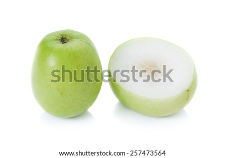 Green Monkey apple or jujubes in basket - stock photo