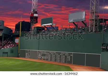 green monster, Fenway Park, Boston, MA - stock photo