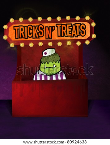 Green monster working concession stand at theatre. - stock photo