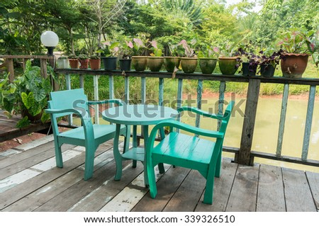 Green morning breakfast chair and table / Relax time