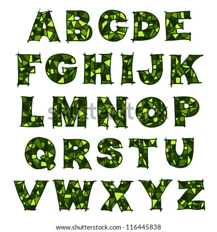 Green mosaic alphabet.  Raster version.