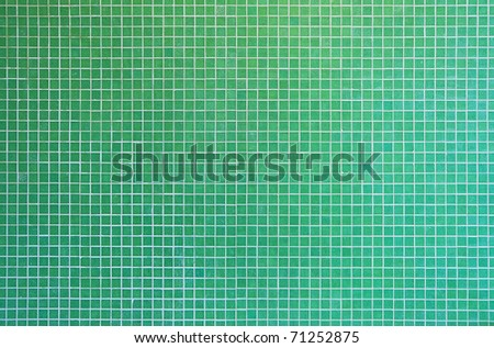 green mosaic tile texture with white filling - stock photo
