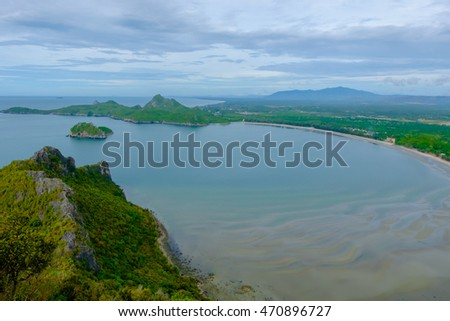 Green mountain and sea nature landscape in Thailand