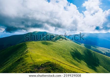 Green mountains, hills - stock photo